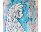 Winter Melancholy of White Cat