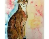 The Shadow of Bastet, Watercolor on paper