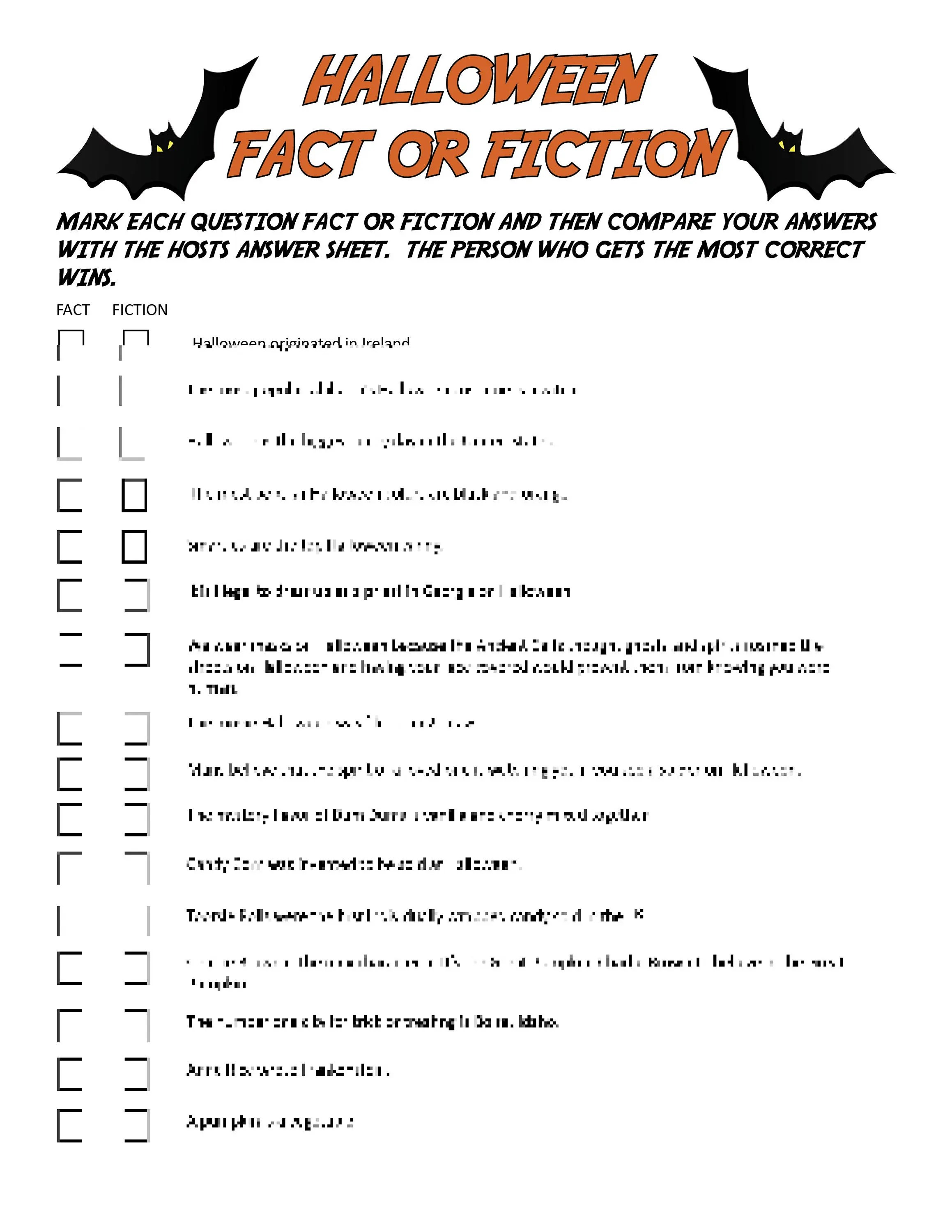 Halloween Fact Or Fiction Digital Download Trivia Game
