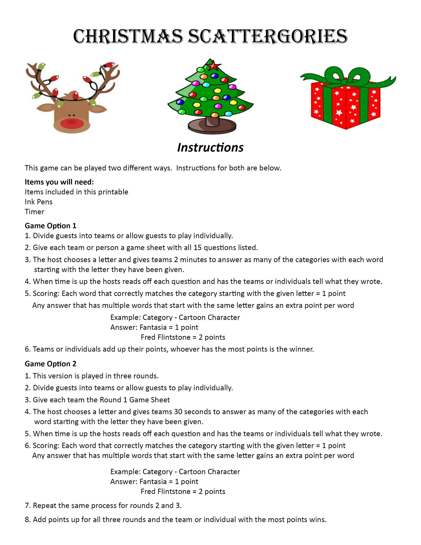 Christmas Scattergories Digital Download Word Game
