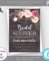 Rustic Floral Bridal Shower Invitation Template Pink Floral Etsy