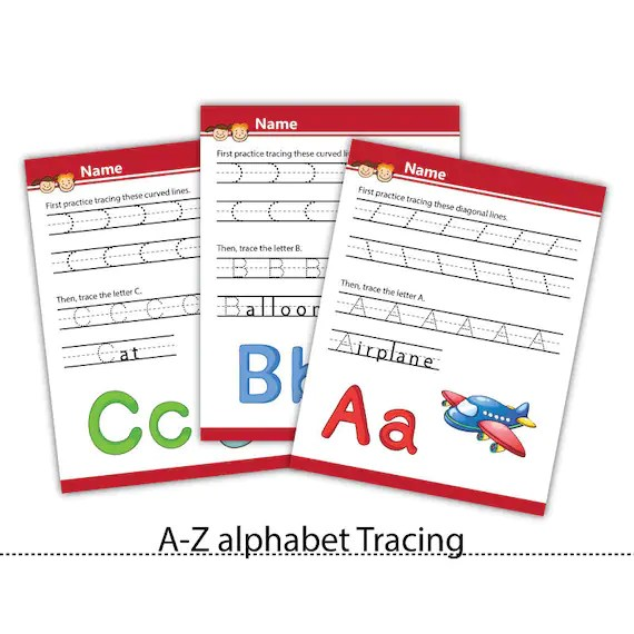 A Z Tracing Printable Letter Tracing Pages Kids Learning Etsy