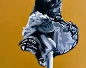 Dancing - Original Work, Acrylic on Canvas 73x54cm, Pop Art - Woman Dancing Ochre Background