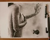 The Shower - Original Artwork Erotic Art Graphite on Sheet Paper Canson White A4, Unique Piece - in Shower