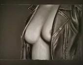 Bare Chest - Original Work Of Erotic Art Female Nude - Cake on black foil 65x50cm