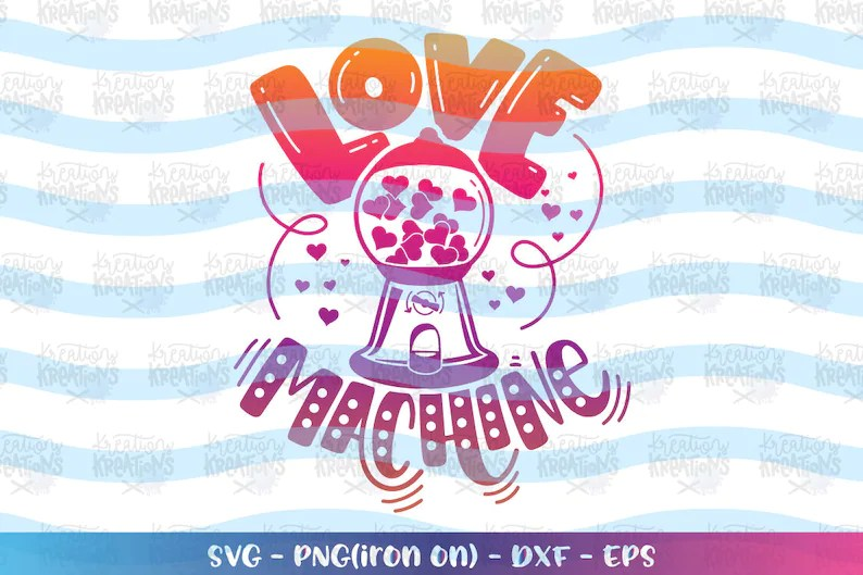 Download Gum Ball Hearts Love Machine svg Gum machine Valentines ...