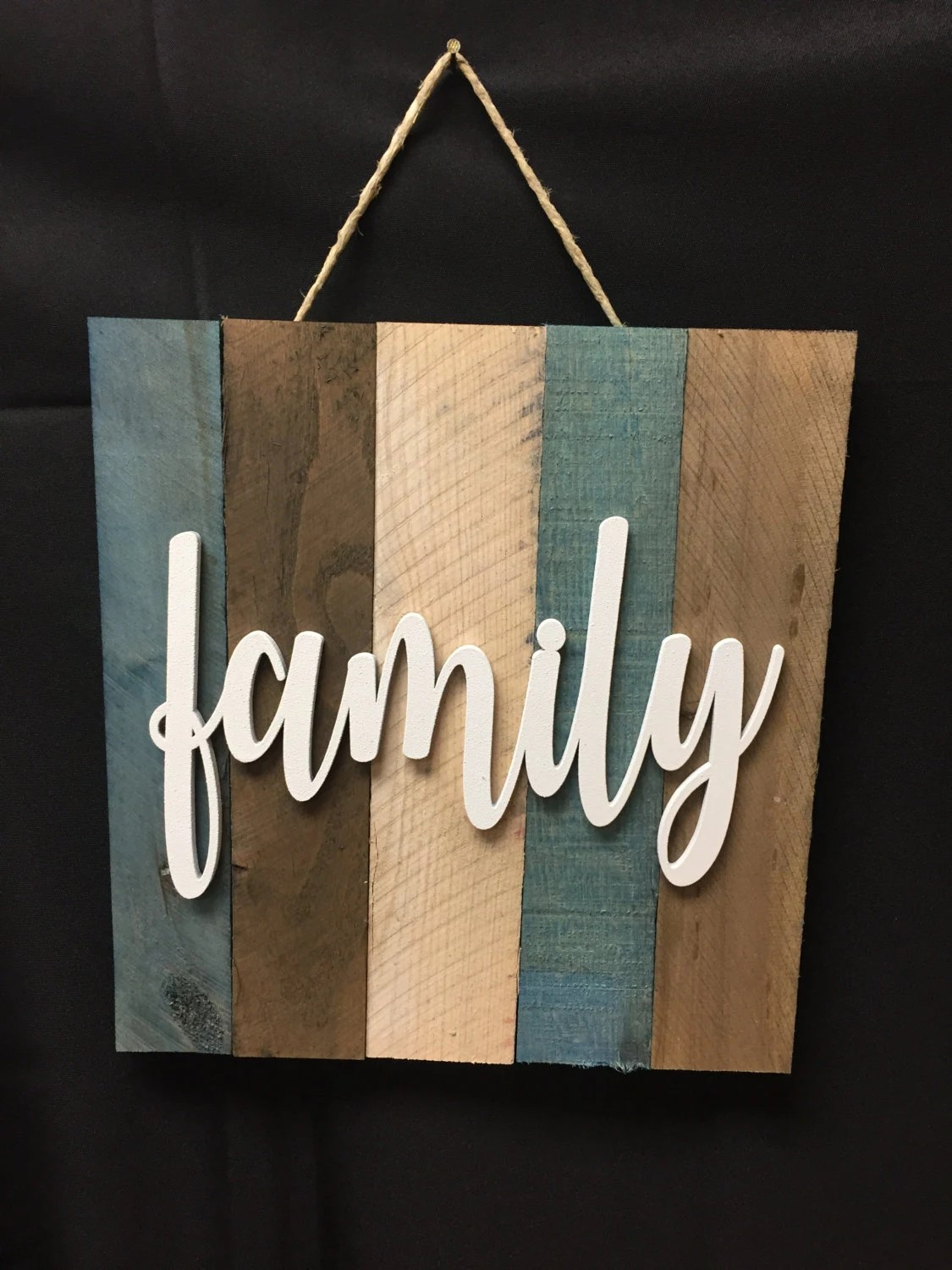 Family Word Script Sign Painted Wood Wall Hanging Pallet