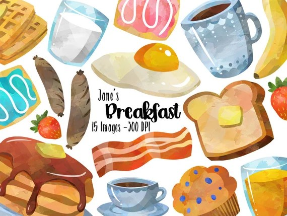 Watercolor Breakfast Clipart Morning Download Instant Etsy