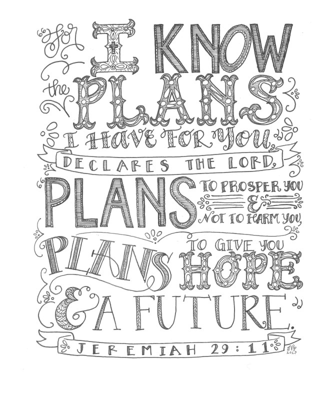 Jeremiah 19:19, I Know The Plans, Bible Verse Printable, Hand Drawn,  Instant Download, Adult Coloring Page