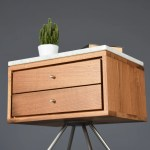 Mid Century Nightstand With Two Drawer In Old Wood And