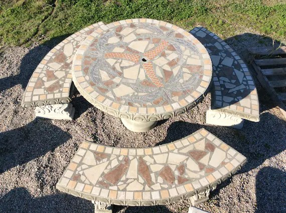 picnic tables cement statues outdoor tables mosaic mosaic etsy