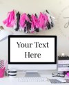 Hot Pink Mac Desktop Styled Stock Photography Mockup For Etsy