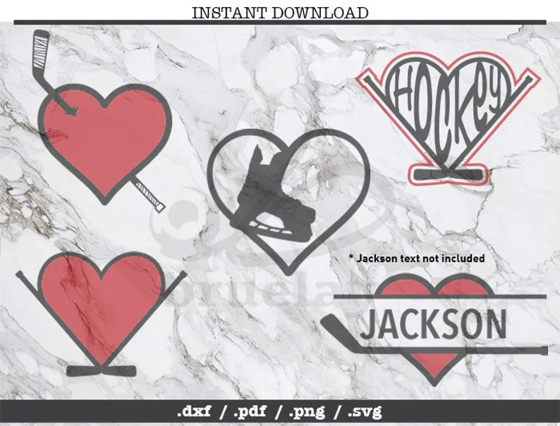 Download Hockey love cut file SVG DXF PNG Cricut Silhouette | Etsy