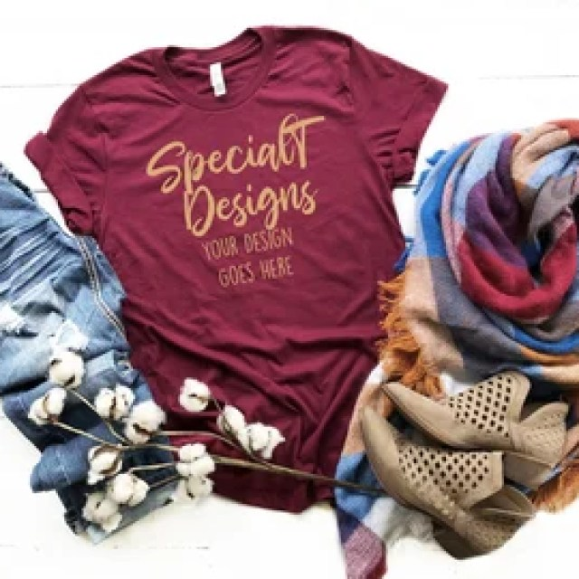 166668f71 Bella Canvas 3001 Maroon Unisex TShirt Tee with Blanket Scarf | Fall Mockup  | Mock Up | Flat Lay | Outfit | Blank Shirt for Designs