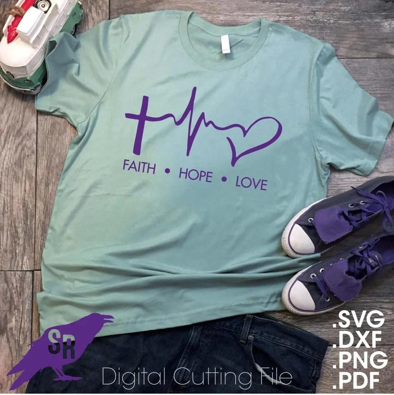Faith Hope Love Heartbeat SVG Vector for Cricut ...