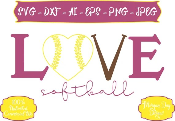 Download Softball SVG Love Softball SVG Softball SVG Sports svg | Etsy