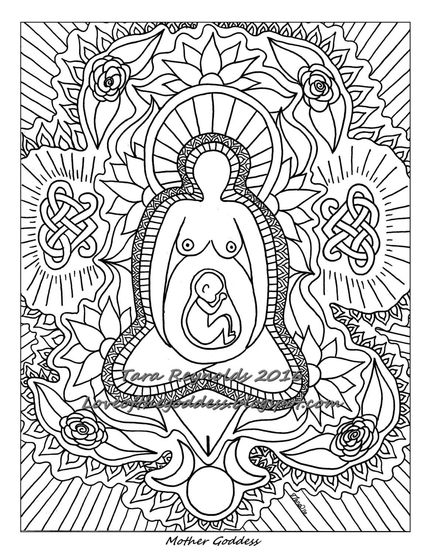 Pagan Art Earth Goddess Art Mandala Coloring Page Divine