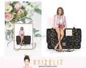 Fashion Girl Illustration - Fashion illustration print - personalized gifts for her -  women art illustration - gift ideas for her - handbag