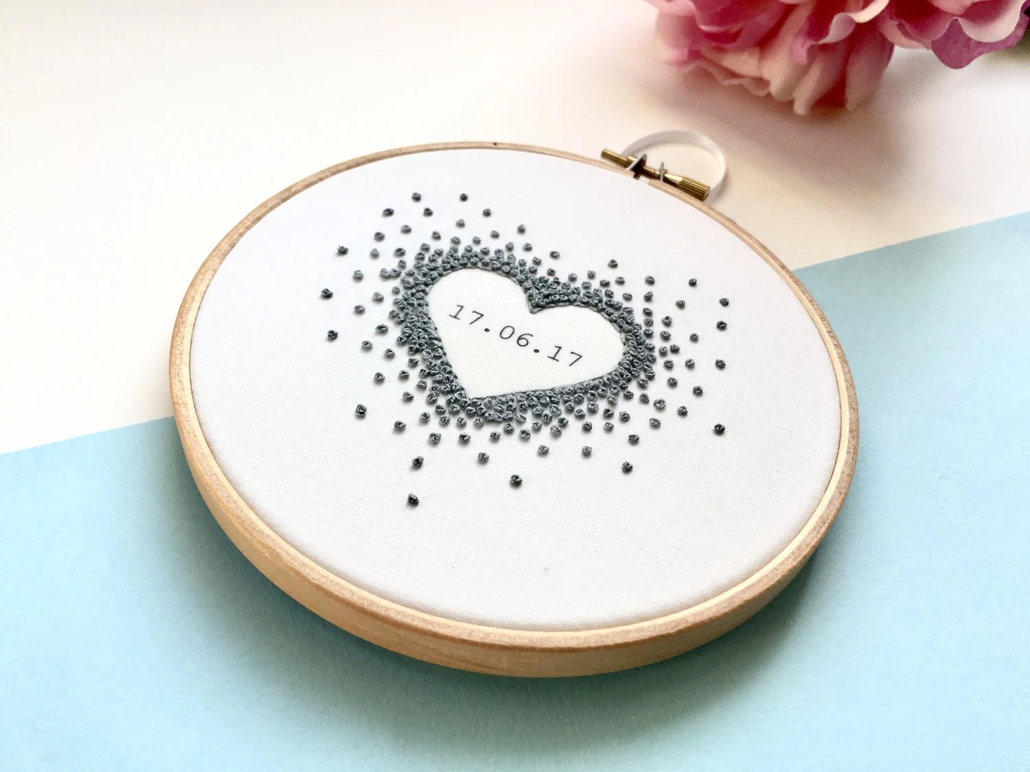 Custom Wedding Gift Anniversary Date Gift Embroidery Hoop