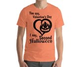 The Second Halloween Over Valentine's Day (Orange) Bella + Canvas 3001 Unisex Short Sleeve Jersey T-Shirt with Tear Away Label