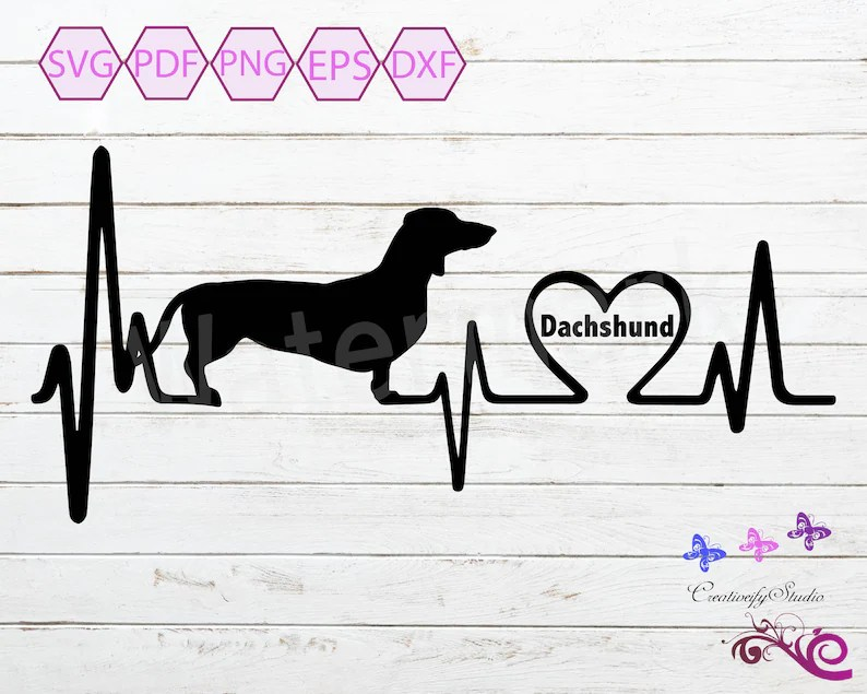 Download Love My Dachshund Heartbeat SVG Silhouette Clipart Dog ...