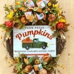 Fall Pumpkin Vintage Truck Wreath Fall Farmhouse Wreath Rustic Fall Wreath Autumn Truck Wreath Autumn Door Decor