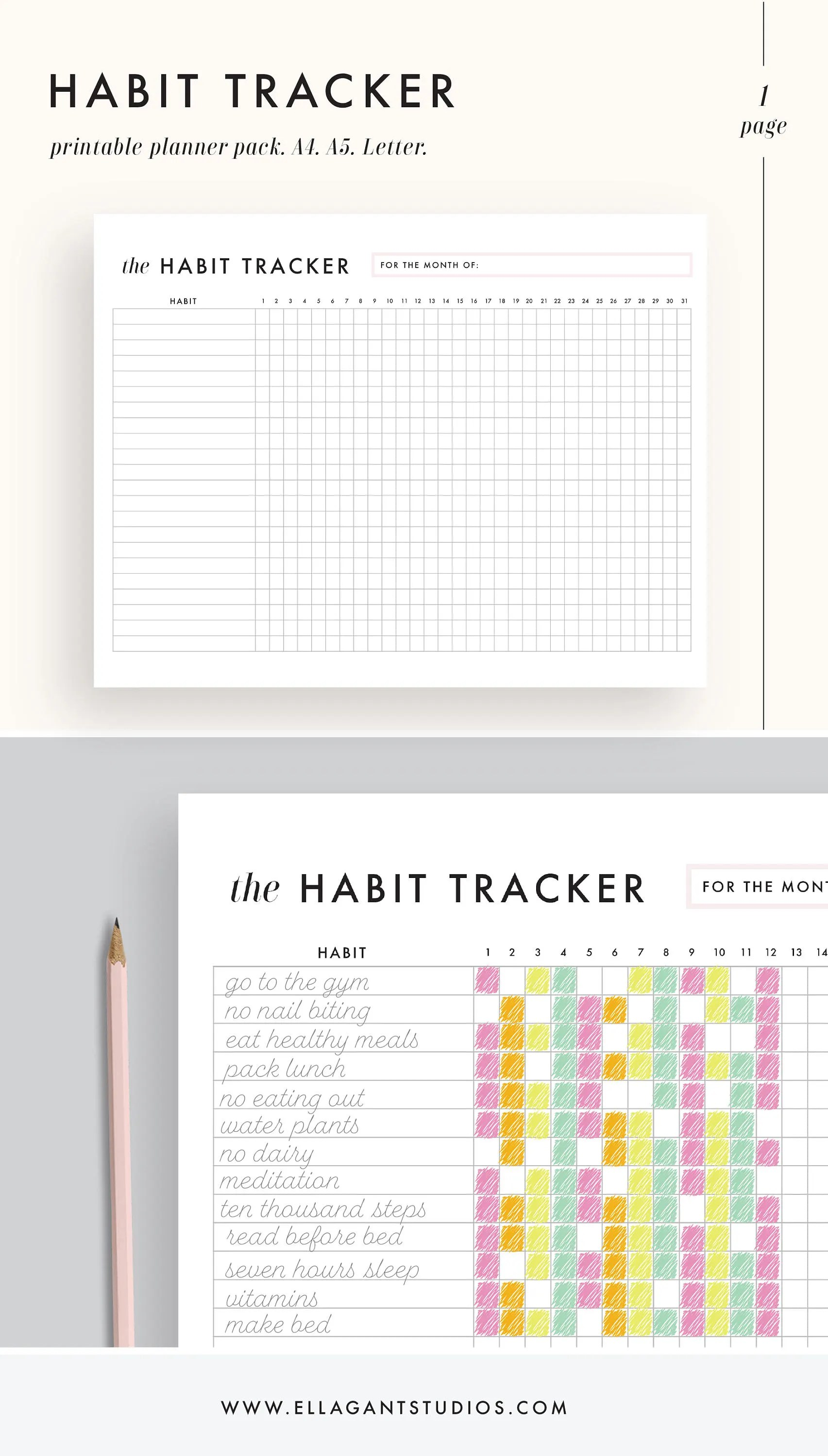 Habit Tracker Printable Daily Habits Planner Planner