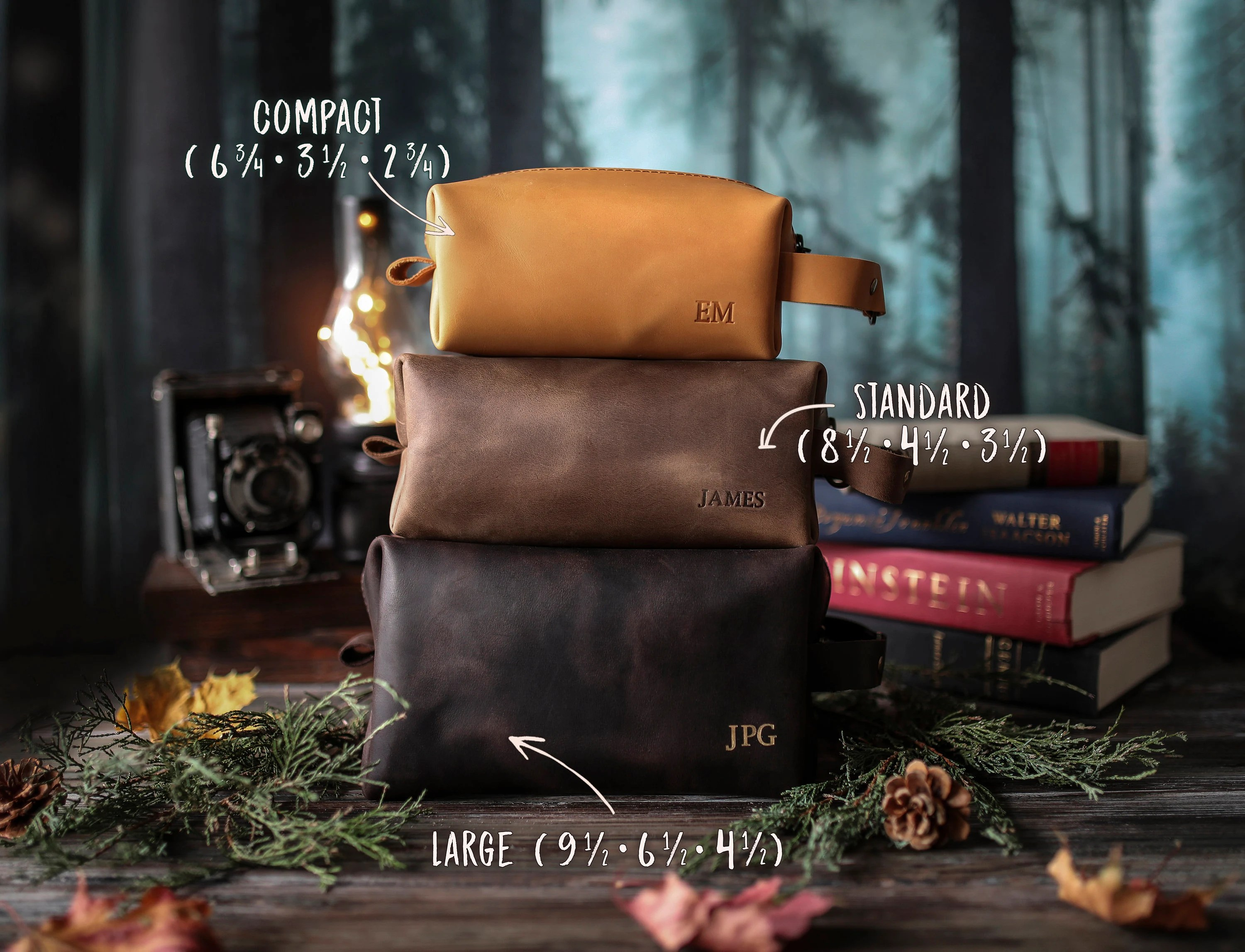 Personalized leather dopp kit mens leather toiletry bag mens image 1