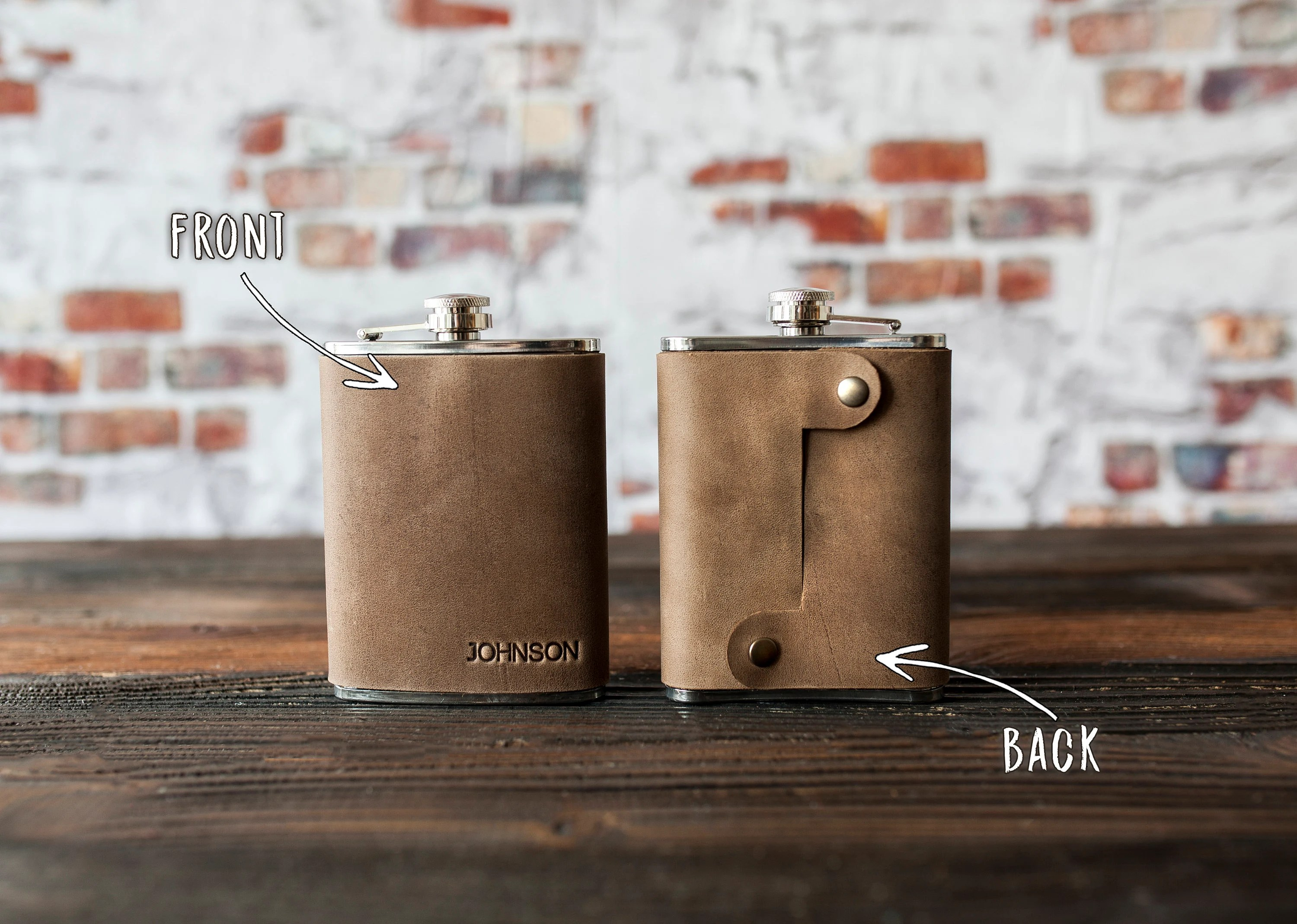Leather hip flask personalized Leather flask for men image 3