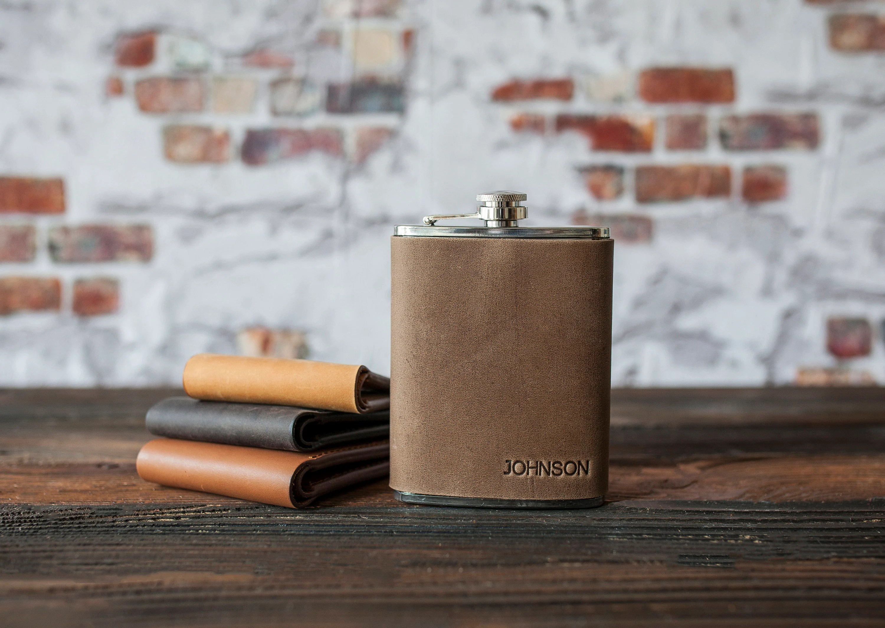Leather hip flask personalized Leather flask for men image 8