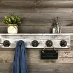 Whitewash 5 5 Deep Shelf Coat Rack Towel Holder Entryway Storage Bathroom Decor Farmhouse Industrial Rustic Wall Hooks Pipe Hook