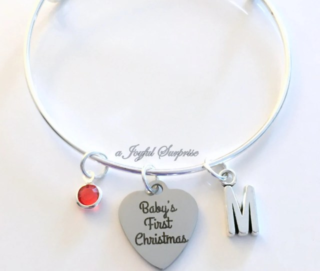 Gift For New Mom Bracelet  Babys First Christmas Mother Jewelry Charm Bangle Silver Initial Birthstone Present Keepsake Letter Women