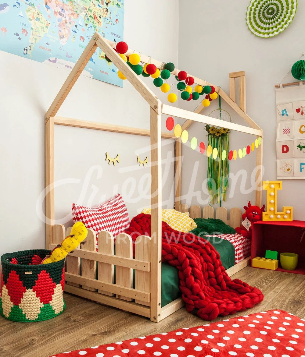 children bed kids bed full size queen size toddler bed nursery bed montessori furniture scandinavian style