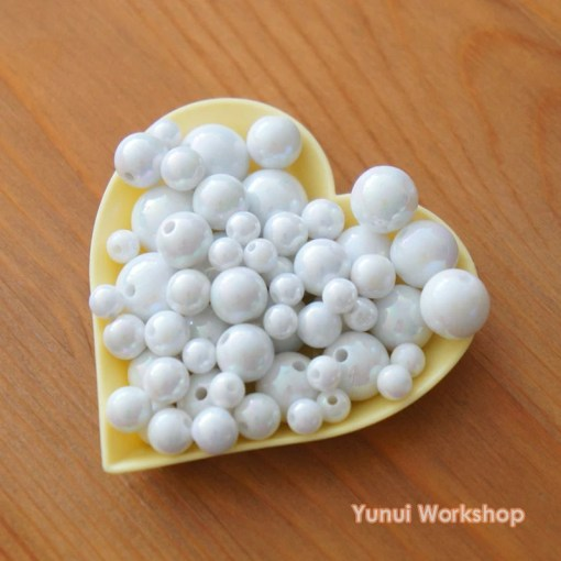 Cute accessories   Etsy Fantasy White AB Acrylic Beads with Hole Cute Accessories Necklace  Cabochons Scrapbooking Craft DIY   6mm  8mm  10mm  12mm  14mm