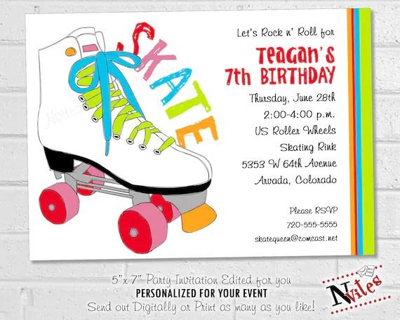 roller skate birthday party invitation skating birthday party printable roller skating or roller derby party invitation 80s style skate