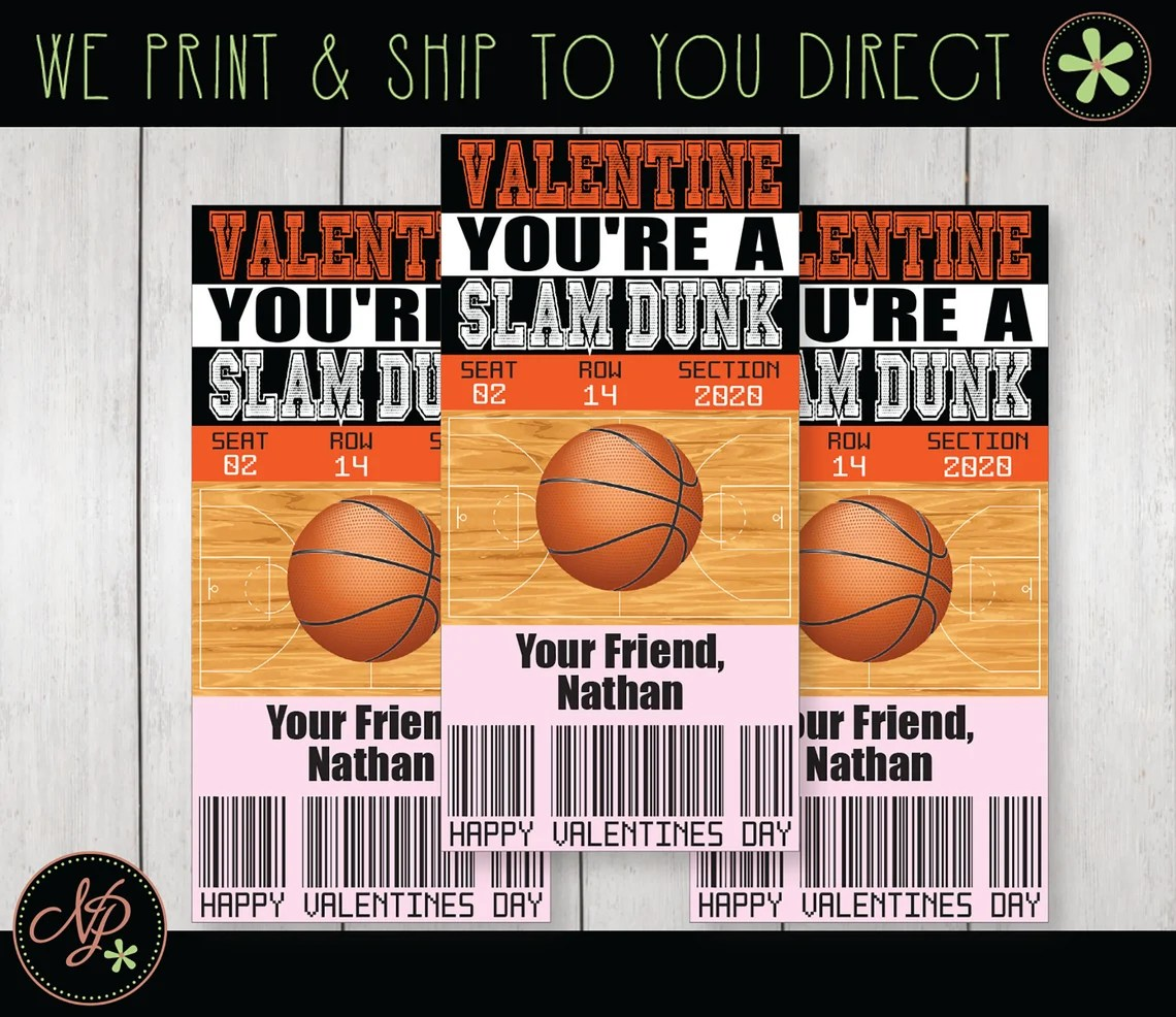 Kids Valentine Cards Printed Basketball Valentines Tickets image 0