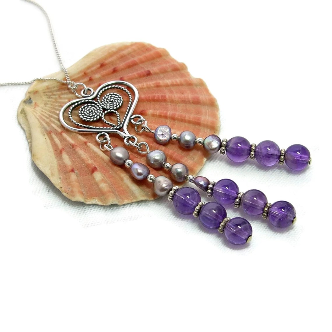 Amethyst Birthstone Necklace with Freshwater Pearls