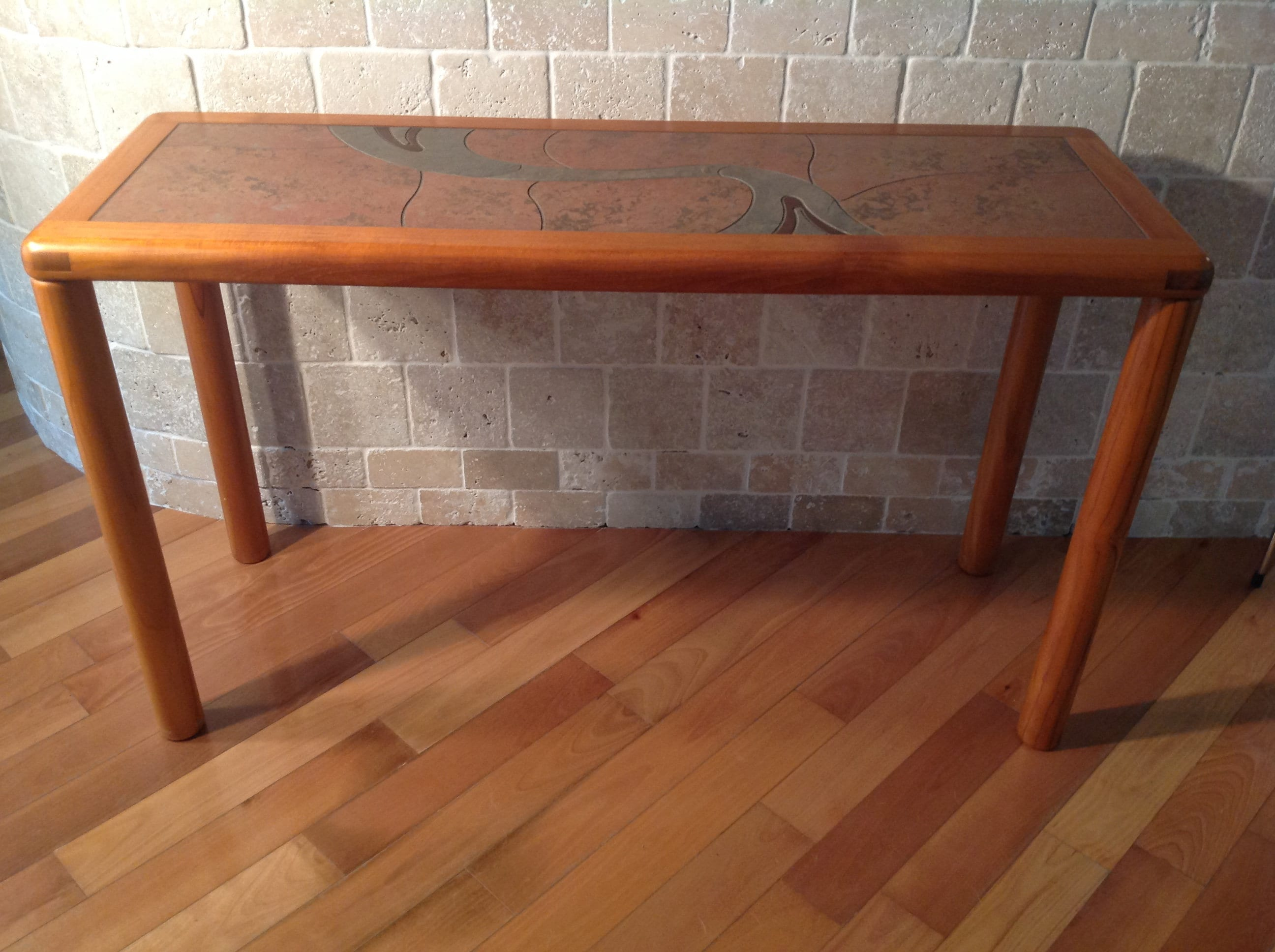 Danish Teak With Tile Top Console Table By Haslev