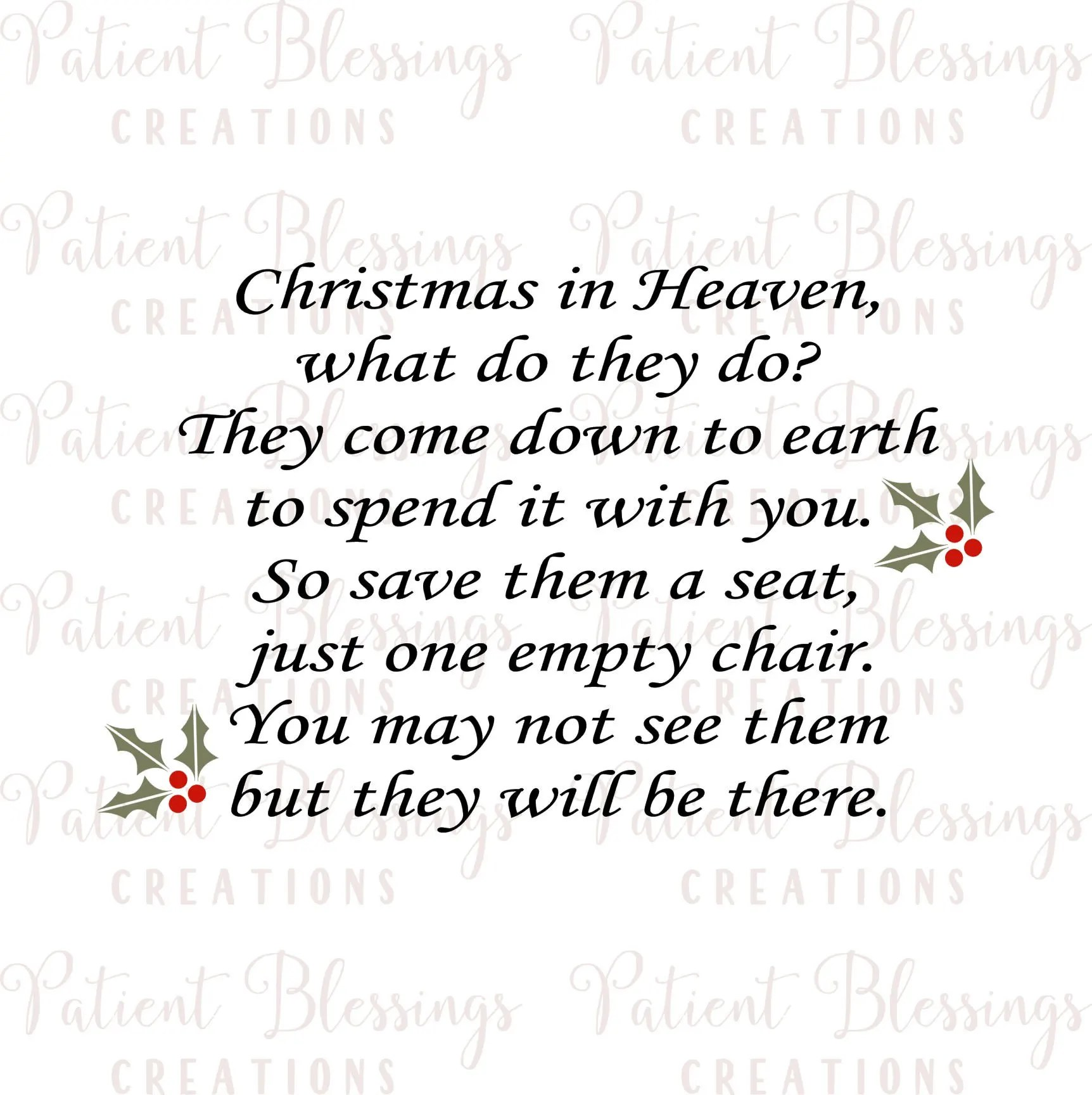 Christmas In Heaven Svg.Christmas Heaven Svg Empty Chair
