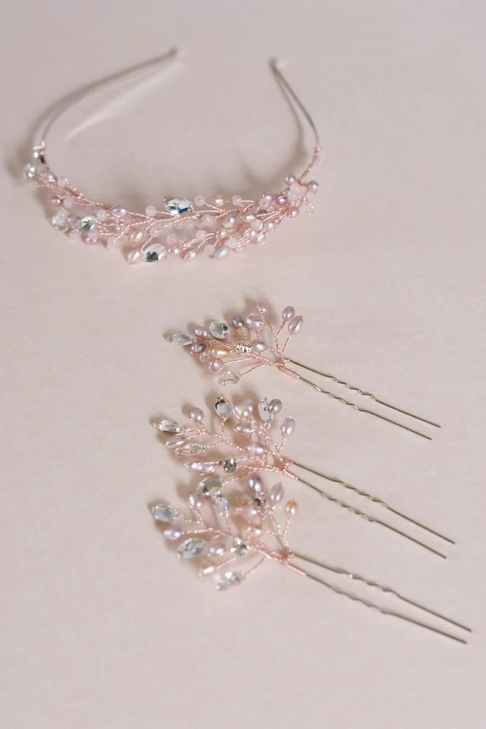 rose gold hair accessories pearl pin indian wedding jewelry bridal headpiece blush pink crystal pins rhinestone headdress sample sale