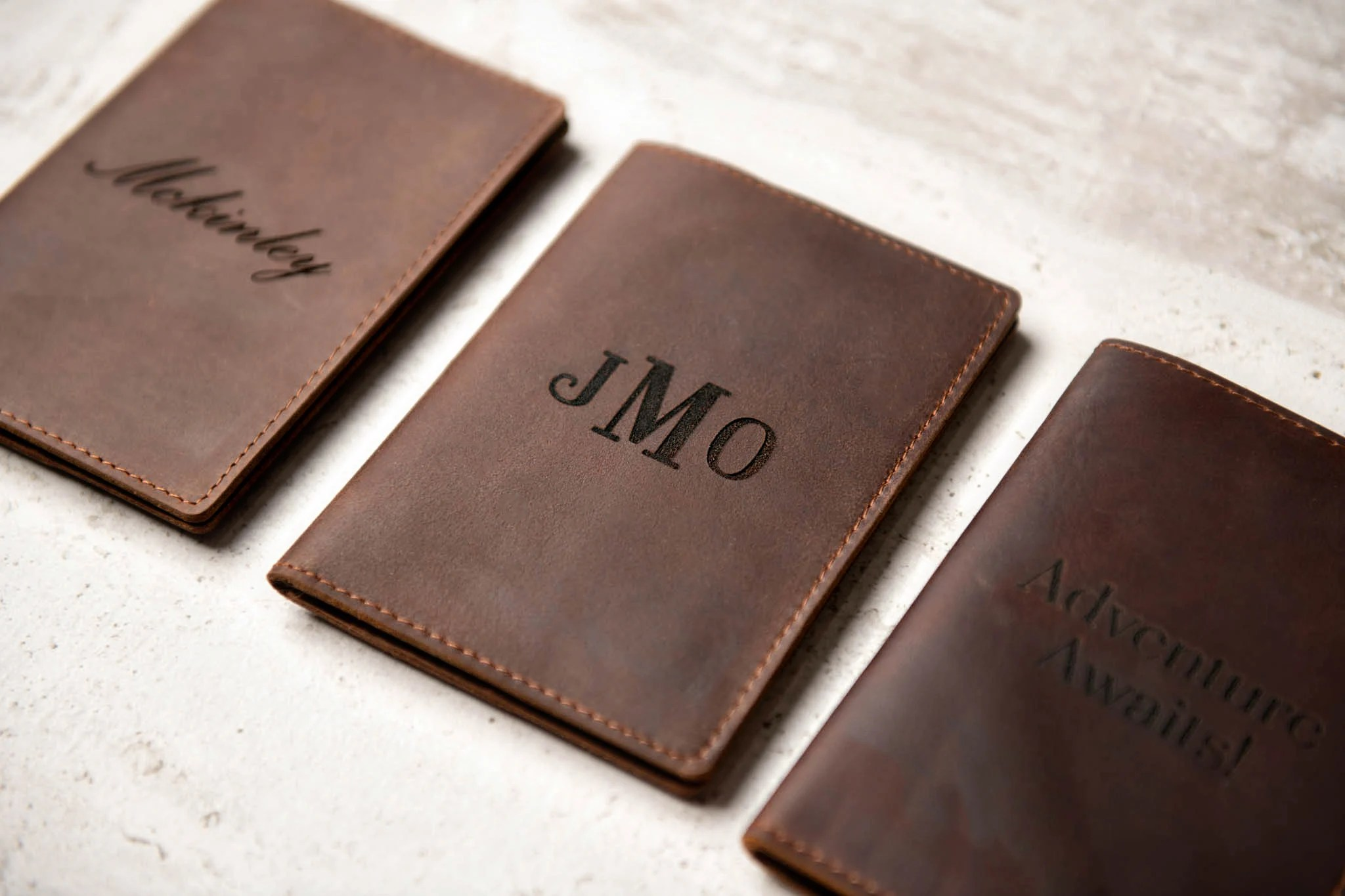 Personalized Leather Passport Cover Holder by Left Coast Large on Cover