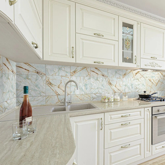 funlife cyan marble backsplash tile stickers peel and stick etsy