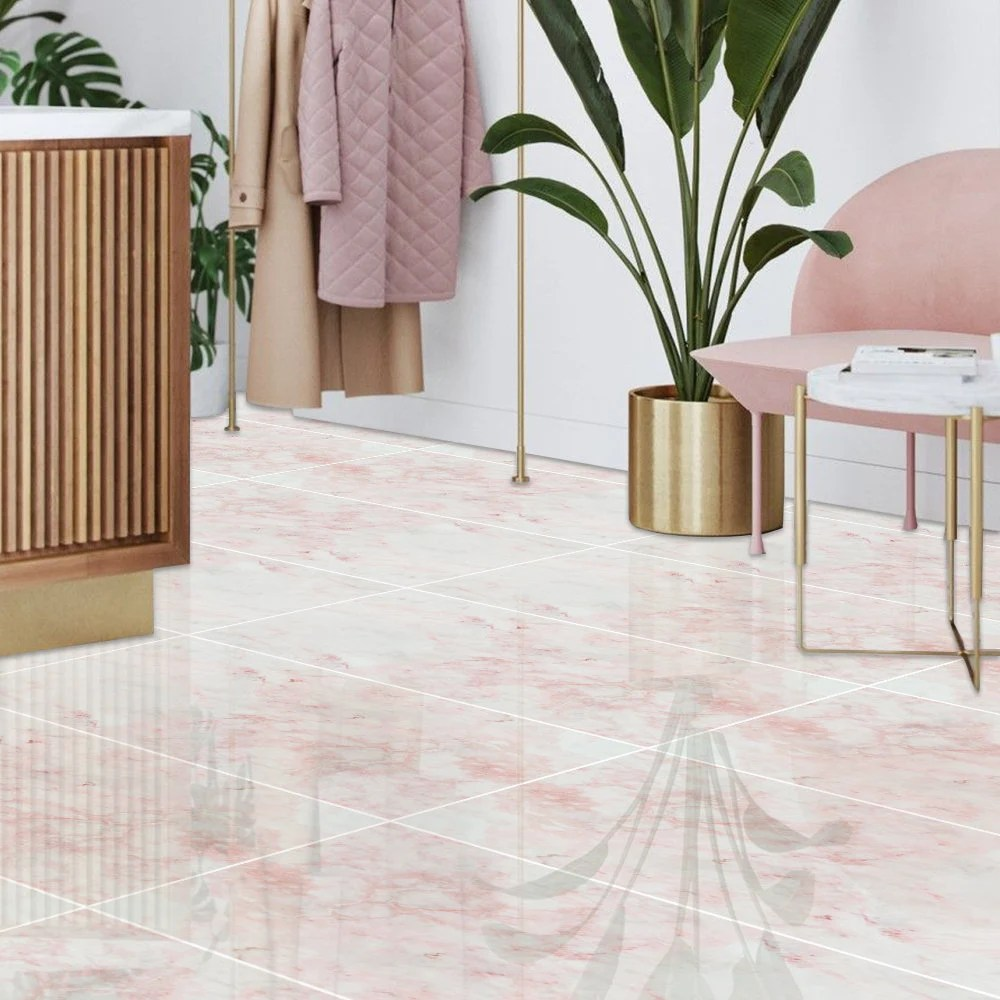 funlife pink marble bathroom floor tile sticker peel and etsy