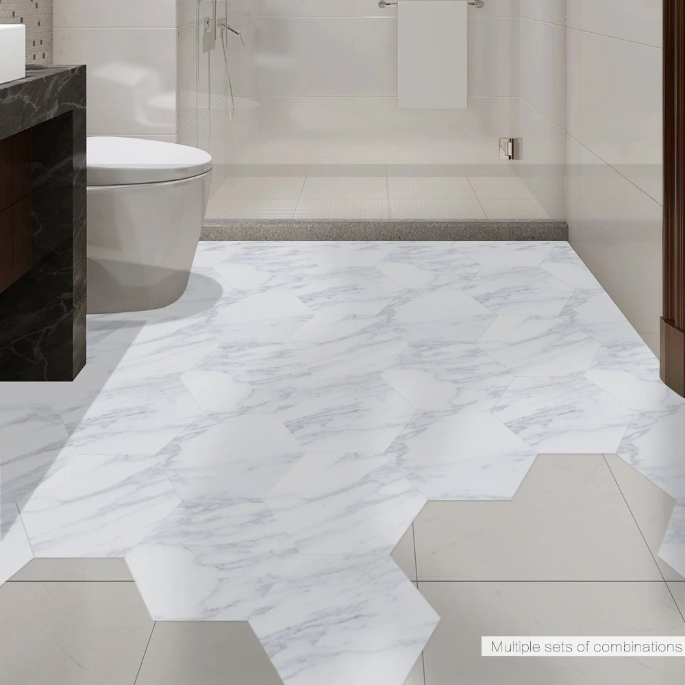 funlife white marble hexagon tile floor stickers modern etsy