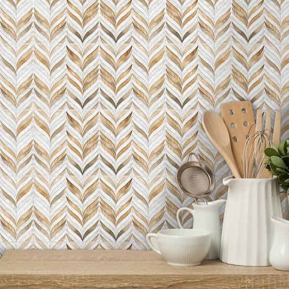 funlife backsplash tile sticker beige and brown geometric etsy