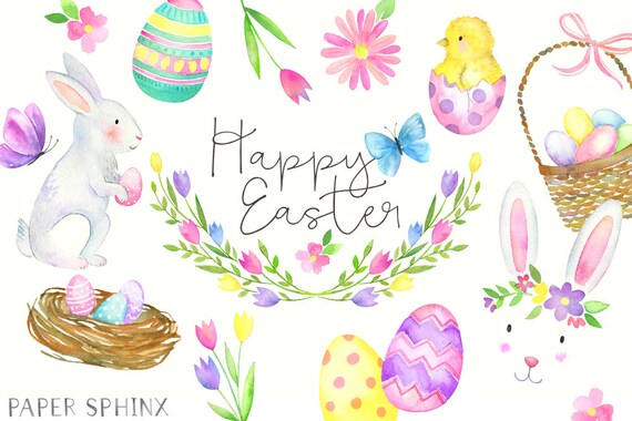 Watercolor Easter Clipart Easter Bunny Clip Art Spring