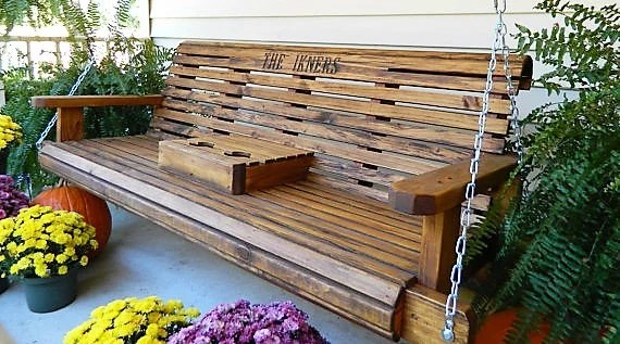 5ft porch swing solid wood patio swing outdoor gift for family wooden anniversary gift with option to personalize outdoor bench