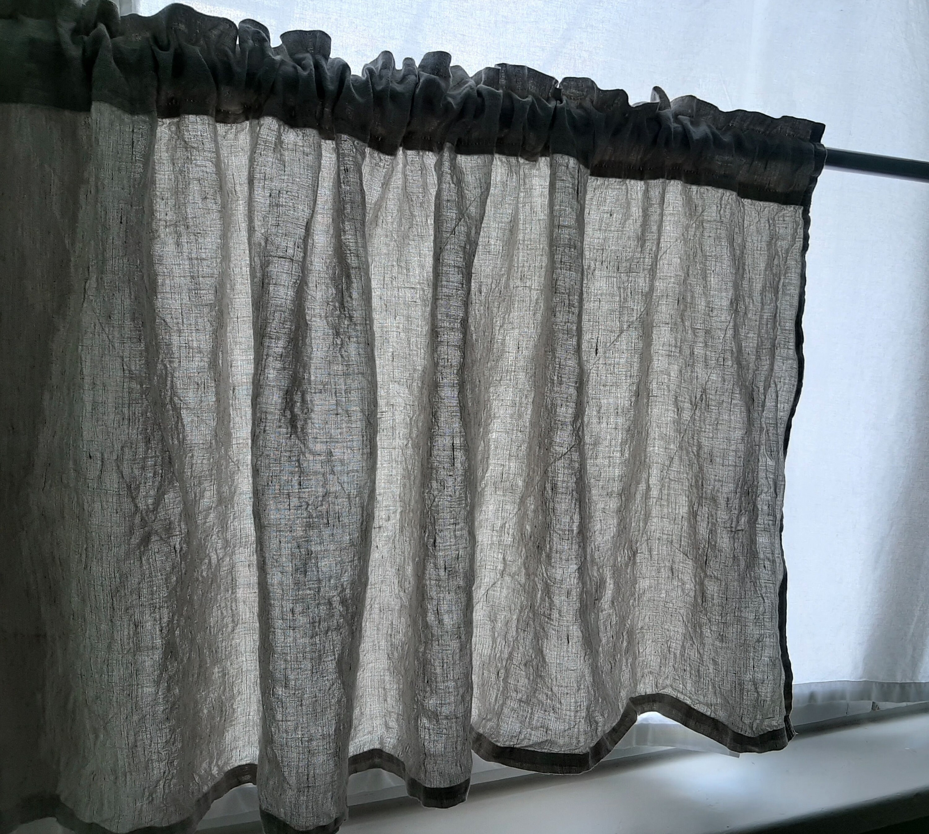 Stone Washed Rod Pocket Linen Curtain With Decorative Header Panel Extra Long White Curtain Door Curtain Shower Curtains Kitchen Curtains