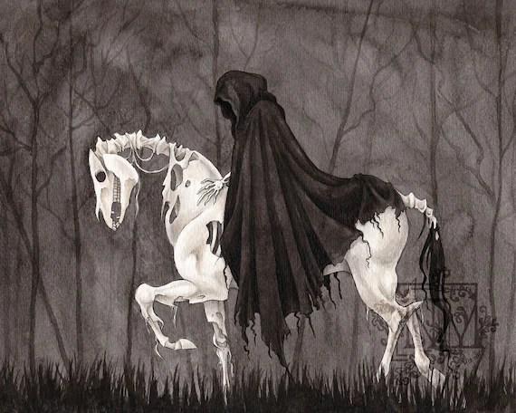 Fantasy Art Print Pale Horse Death   Etsy
