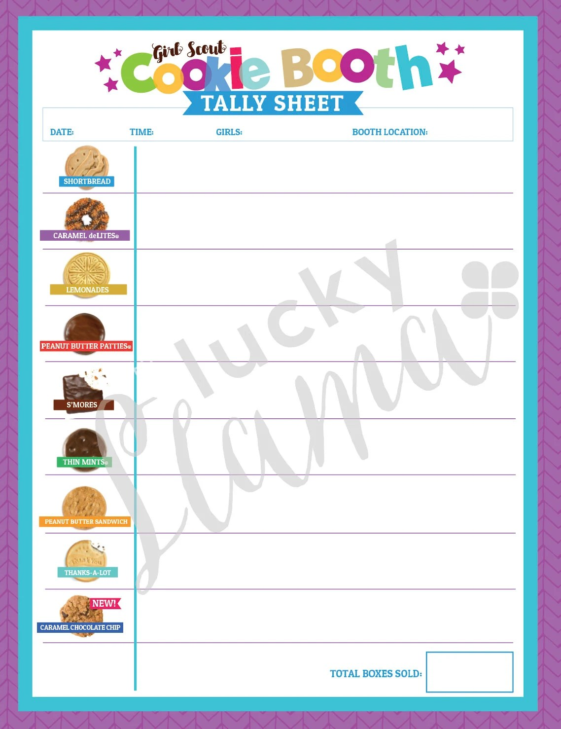 Abc Cookie Booth Tally Sheet With New Cookie